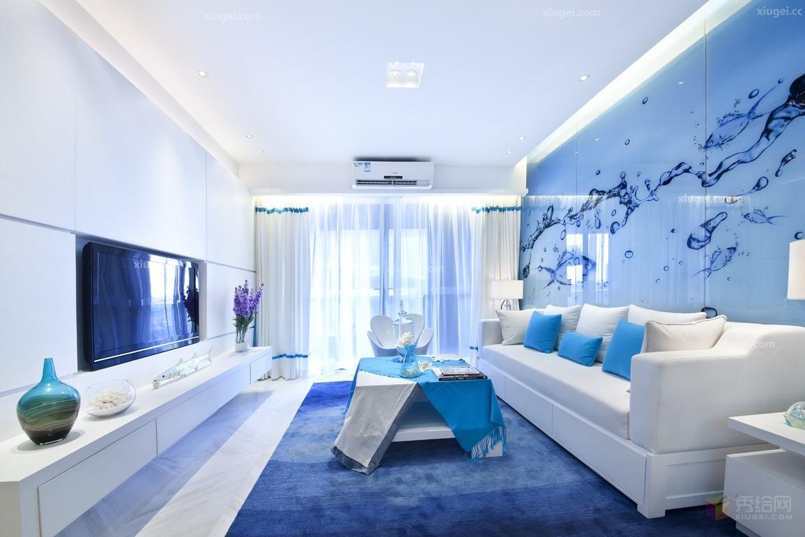 Phòng khách màu xanh có tác dụng nới rộng diện tích không gian