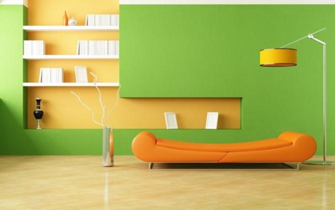Phối màu cam và xanh lá mang lai cảm giác hài hòa cho không gian