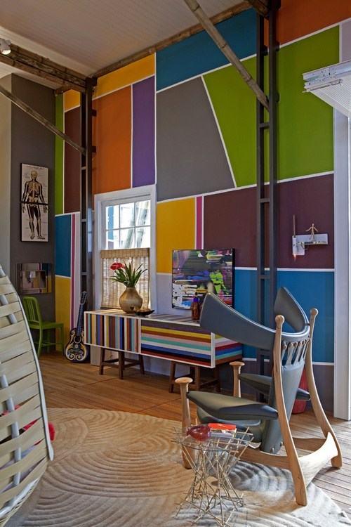 Sơn nhà hình học tổng hợp cho không gian thêm sinh động vói màu sắc