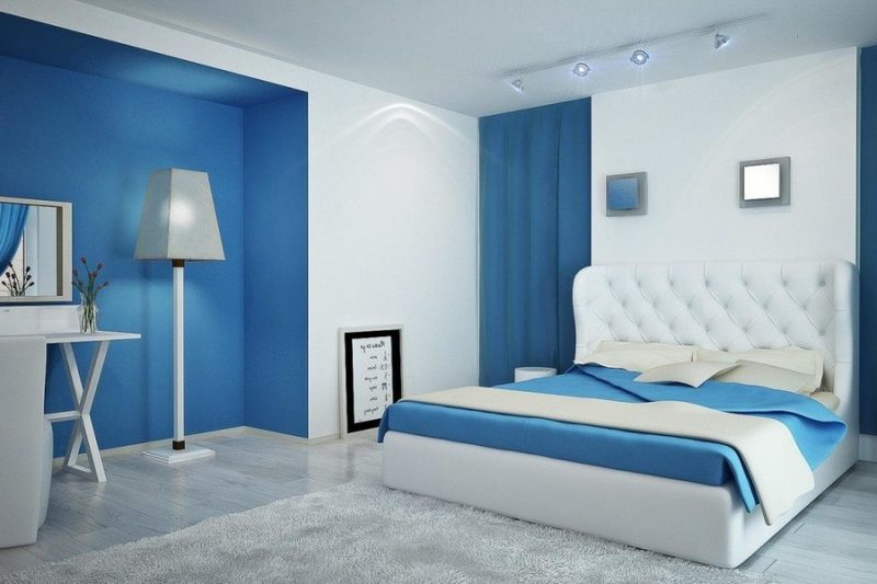 Phối màu trắng và xanh dương sẽ mang lại không gian thoáng đãng và không kém phần tinh tế