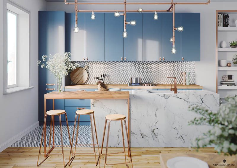 Không gian bếp màu xanh nước biển